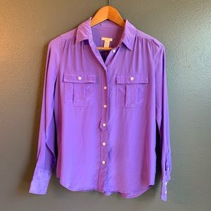 J. Crew Womens Blythe Silk Top Blouse Size 2 Lilac